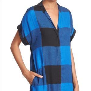 Rag & Bone Cooper Plaid Shirtdress Blue Black 4